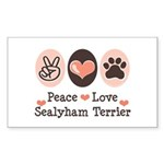 Peace Love Sealyham Terrier Rectangle Sticker