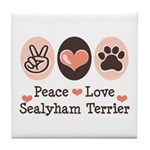 Peace Love Sealyham Terrier Tile Coaster