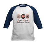 Peace Love Sealyham Terrier Kids Baseball Jersey
