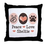 Peace Love Sheltie Throw Pillow