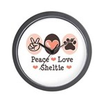Peace Love Sheltie Wall Clock