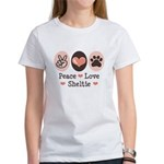 Peace Love Sheltie Women's T-Shirt