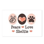 Peace Love Sheltie Postcards (Package of 8)