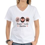 Peace Love Sheltie Women's V-Neck T-Shirt