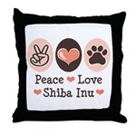 Peace Love Shiba Inu Throw Pillow
