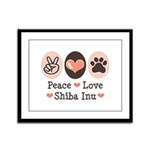 Peace Love Shiba Inu Framed Panel Print