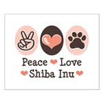 Peace Love Shiba Inu Small Poster