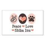 Peace Love Shiba Inu Rectangle Sticker