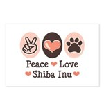 Peace Love Shiba Inu Postcards (Package of 8)