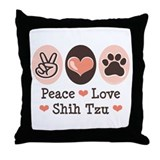 Peace Love Shih Tzu Throw Pillow