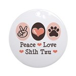 Peace Love Shih Tzu Ornament (Round)