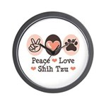 Peace Love Shih Tzu Wall Clock