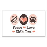 Peace Love Shih Tzu Rectangle Sticker