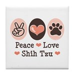 Peace Love Shih Tzu Tile Coaster