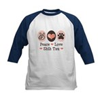 Peace Love Shih Tzu Kids Baseball Jersey