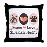 Peace Love Siberian Husky Throw Pillow