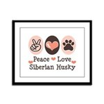 Peace Love Siberian Husky Framed Panel Print