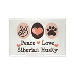 Peace Love Siberian Husky Rectangle Magnet (100 pa