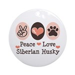 Peace Love Siberian Husky Ornament (Round)
