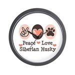 Peace Love Siberian Husky Wall Clock
