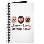 Peace Love Siberian Husky Journal