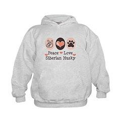 Peace Love Siberian Husky Kids Hoodie