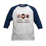 Peace Love Siberian Husky Kids Baseball Jersey