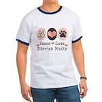 Peace Love Siberian Husky Ringer T