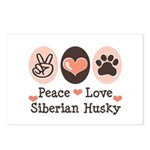 Peace Love Siberian Husky Postcards (Package of 8)