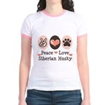 Peace Love Siberian Husky Jr. Ringer T-Shirt