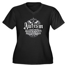 Autism Tribal 2 Women's Plus Size V-Neck Dark T-Sh
