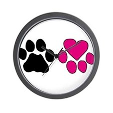 Heart Paw Wall Clock