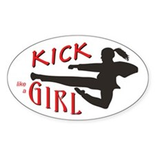 Girl Kickin' Oval Decal