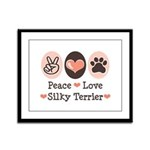 Peace Love Silky Terrier Framed Panel Print