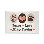 Peace Love Silky Terrier Rectangle Magnet (10 pack