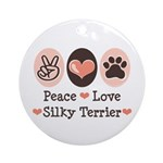 Peace Love Silky Terrier Ornament (Round)