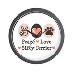 Peace Love Silky Terrier Wall Clock