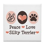 Peace Love Silky Terrier Tile Coaster