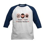 Peace Love Silky Terrier Kids Baseball Jersey