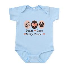 Peace Love Silky Terrier Infant Bodysuit