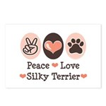 Peace Love Silky Terrier Postcards (Package of 8)