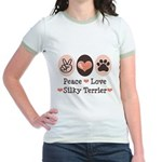 Peace Love Silky Terrier Jr. Ringer T-Shirt