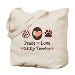 Peace Love Silky Terrier Tote Bag