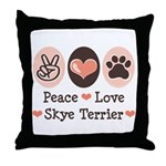 Peace Love Skye Terrier Throw Pillow