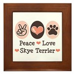 Peace Love Skye Terrier Framed Tile