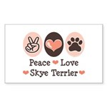 Peace Love Skye Terrier Rectangle Sticker