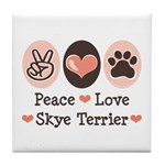 Peace Love Skye Terrier Tile Coaster