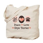 Peace Love Skye Terrier Tote Bag