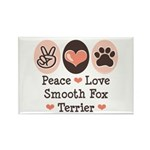 Peace Love Smooth Fox Terrier Rectangle Magnet