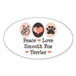 Peace Love Smooth Fox Terrier Oval Sticker